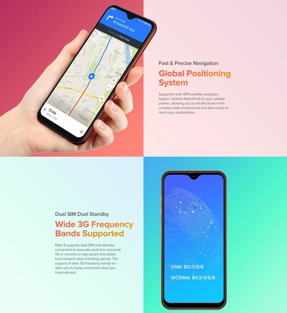 Ulefone Note 8 Smartphone Android 10 Go Celular Phone 5.5 inch Waterdrop Screen Quad Core 2GB+16GB Face ID Unlocked Cellphones 5