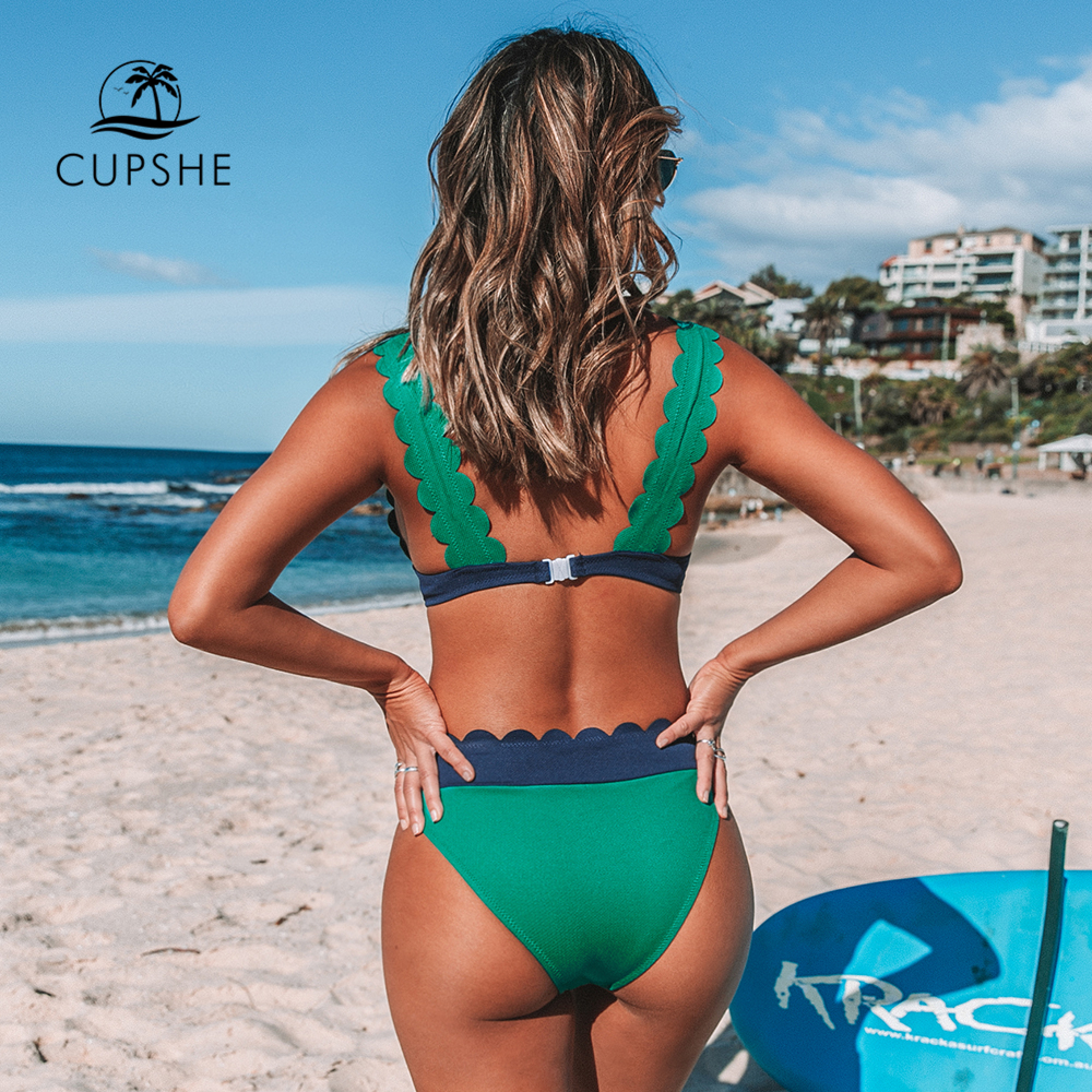 CUPSHE Green and Navy Scalloped Bikini Sets Sexy V-neck Swimsuit Two Pieces Swimwear Women 2020 Beach Bathing Suits Biquinis 1