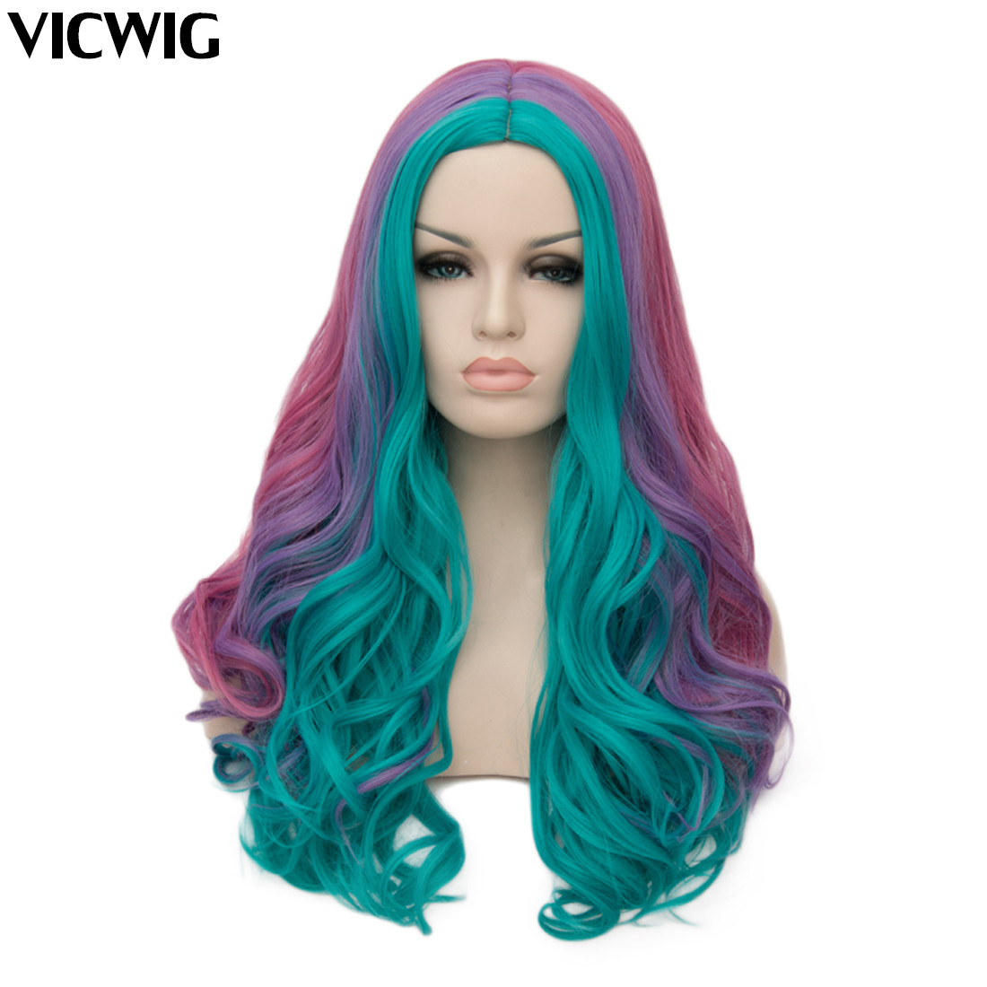 Women Cosplay Multicolor Stitching Gradient Wig Long Wig Curved Big Wave Black And White Blue Pink Color Wigs