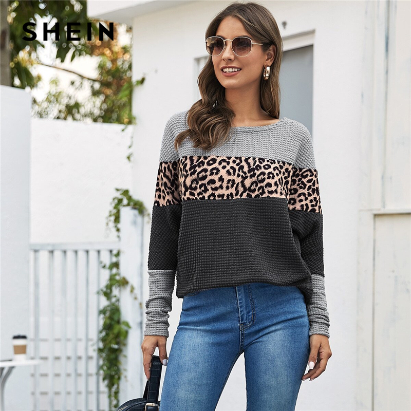 SHEIN Multicolor Cut And Sew Leopard Print Casual Tee Women Tops 2020 Spring Streetwear Colorblock Long sleeve Ladies T-shirts 1