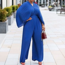 Summer Pleated Plain Slim Wide Legs Jumpsuit Women Casual Long Pants Off Shoulder Rompers yellow pleated design plain cold shoulder long sleeves blouses