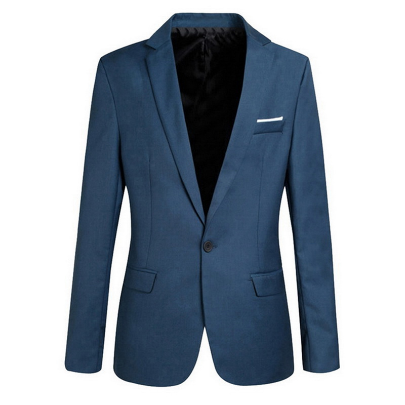 MJARTORIA Hot Sale Mens Korean Slim Fit Cotton Blazer Suit Jacket Black Blue Plus Size S To 4XL Male Blazers Mens Coat Wedding