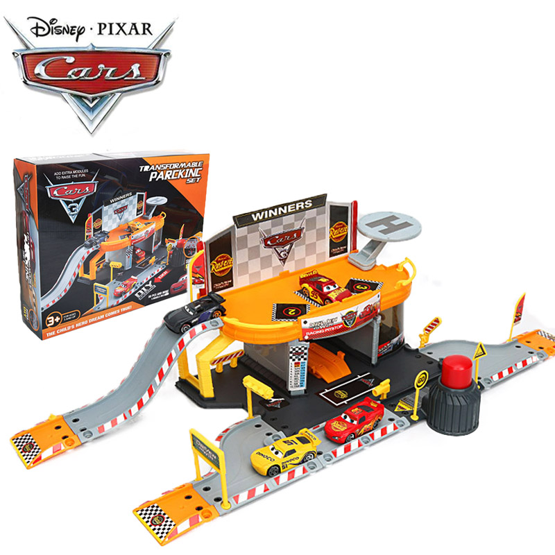 Disney Pixar Cars 3 Toys Transformable Parking Set Lightning Mcqueen Driven To WinPacing Pitstop Lot Plastic Diecasts Car Toys