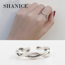 SHANICE INS S925 sterling silver open ring Ol smooth line Thai Silver Joint Index Finger Female Resizable Opening Rings(China)