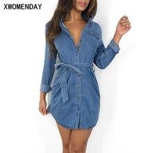 Женское джинсовое платье-рубашка с длинным рукавом и поясом, осенне-зимнее сексуальное короткое женское платье с разрезом,, уличная одежда