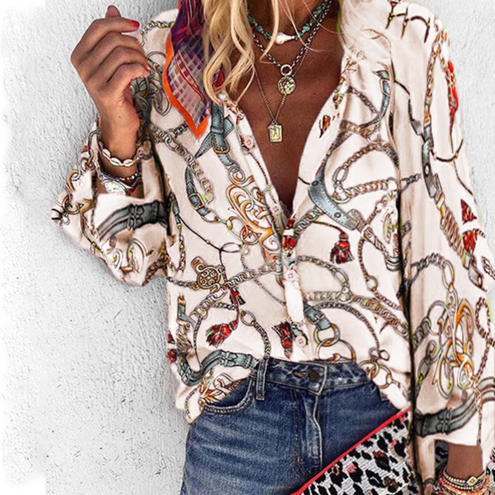 Autumn Women Tops Ladies Casual Chain Print Long Sleeve Plus Size Blouse Female Loose Shirt Blusa Feminina Woman Blouses D35