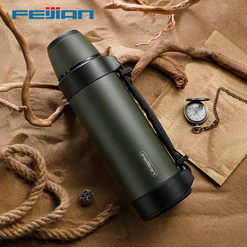 Thermos militaire FEIJIAN, Thermos Portable de voyage pour le thé, grandes tasses pour le café, bouteille deau, acier inoxydable, 1200/1500ML