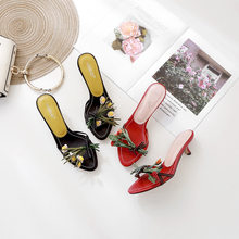 2020 European and American New Network Red Catwalk Semi-High Heeled Flower Girl Half Slipper Dress Shoes(China)