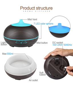 Image 4 - KBAYBO 550ml USB Air Humidifier Aroma Diffuser remote control 7 Colors Changing LED Lights cool mist maker Air Purifier for Home