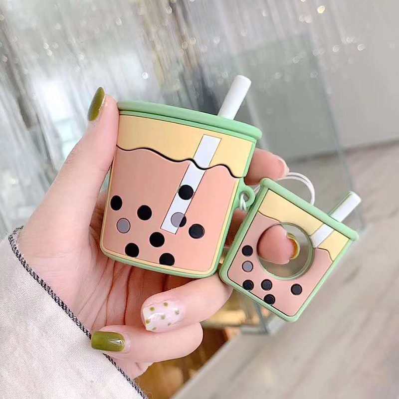 VAORLO Cartoon Silicone Case For <font><b>Airpods</b></font> Waterproof Anti-Dirty Lovely Milk tea Protect Cover For <font><b>Airpods</b></font> 2 i20 i200 i80 I10 <font><b>TWS</b></font> image