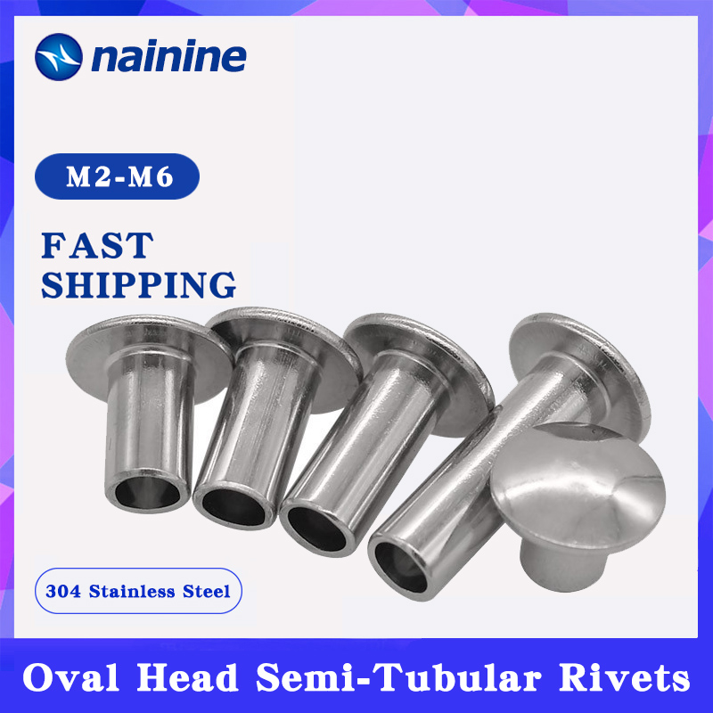 [M2 M2.5 M3 M4 M5 M6] 304 Stainless Steel Oval Head Semi Tubular Rivets Round Head Half Hollow Shank GB873 Rivets     - AliExpress