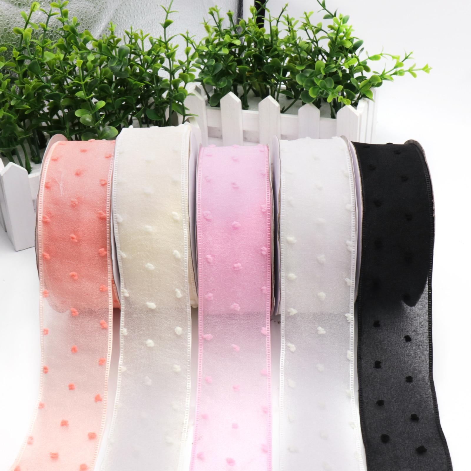 5Yard 4cm Organza Chiffon Yarn Fringe Ribbon DIY Gift Woven Garment Accessories Packaging Wedding Craft