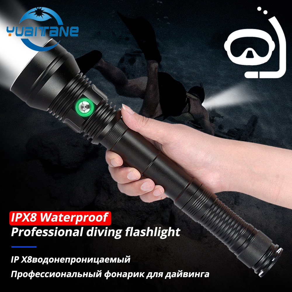 90000LM XHP70.2 Professional Powerful Diving Flashlight  IP8 Waterproof White/Yellow Lighting Underwater 200M Scuba Dive Torch