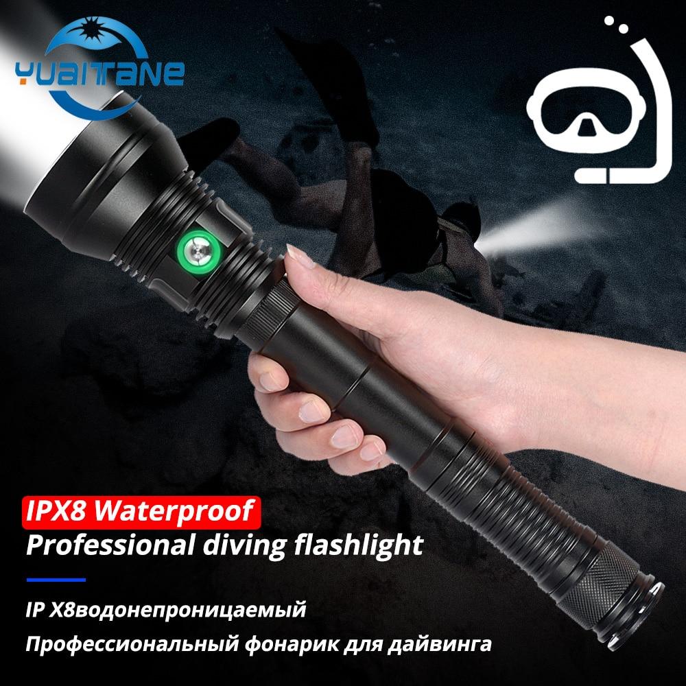 IP8 étanche XHP70.2 professionnel puissant plongée lampe de poche blanc/jaune éclairage sous-marin 200M plongée sous-marine torche pour la plongée