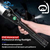 Linterna de buceo de gran alcance profesional IP8 impermeable XHP70.2 iluminación blanca/amarilla bajo el agua 200M soplete de buceo para buceo