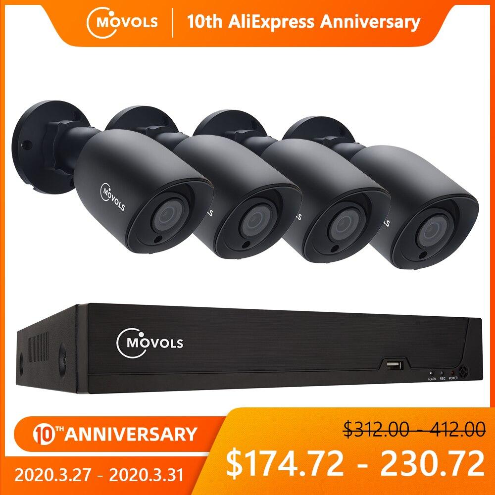 Movols 5MP Video Surveillance System 8CH H.265 DVR 4PCS 2592*1944 HD Security Camera Kit Indoor/ Outdoor IR-cut P2P CCTV System