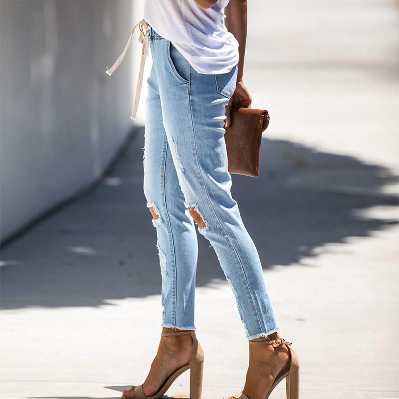 Women Holes High Waist  Pants Pencil Jeans Casual Stretch Slim Fit Denim Pants Hole Casual Trousers