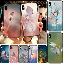 Ljhydfcnb Graceful Butterfly Zachte Siliconen Black Phone Case Voor Iphone6 6 S Plus 7 8 7 8 Plus X Xr xs Max 11 Pro Max Cover(China)
