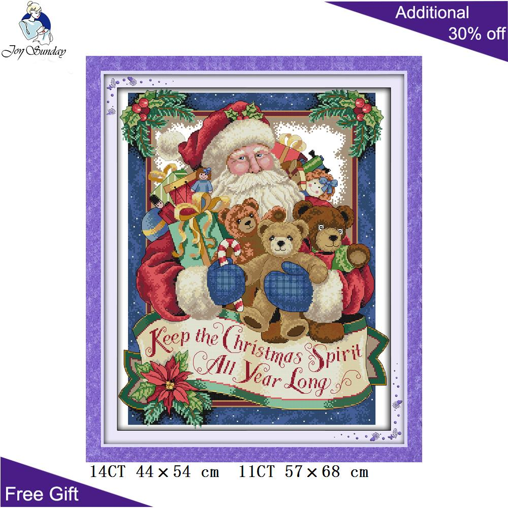 Joy Sunday Santa Claus Cross Stitch <font><b>R308</b></font>(2) 14CT 11CT Counted and Stamped Home Decoration Happy Christmas Cross Stitch kits image