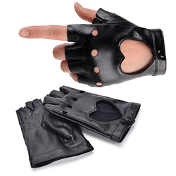1Pair Women Punk Short Synthetic Leather Gloves Half Finger Fingerless Fashion Lady Handsome Black Gloves