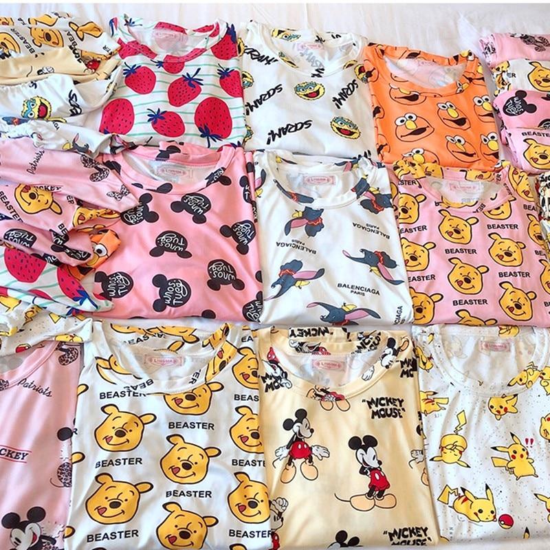Women Mickey Printing Pajamas Pjs Suit Two Piece Set Indoor Clothing Home Suit Sleepwear Winter Pajamas Woman Pijama Mujer Femme