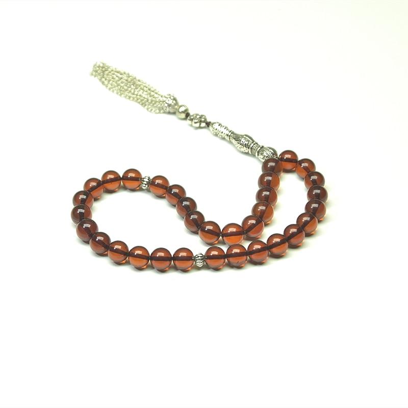 100% pierre d'ambre naturelle marron 9mm + perles musulman Taisbyha chapelet 925 accessoires en argent livraison gratuite
