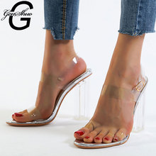 GENSHUO Transparent Heels Chaussures Femme Chunky High Heel Sandals Summer Women's Shoes Plus Size 35 42 Gladiator Shoes Woman|High Heels| |  - AliExpress