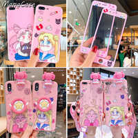 Cute Sailor Moon Screen Protector Anime Phone Case For iPhone 11 Pro Max X XS MAX XR 6 6s 7 8 Plus For Tempered Glass Back Cover
