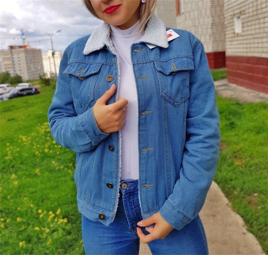 Denim Jackets For Girls Female Jacket Plush Coat Women Autumn Winter Denim Upset Jacket Vintage Long Sleeve Loose Jeans Coat 4