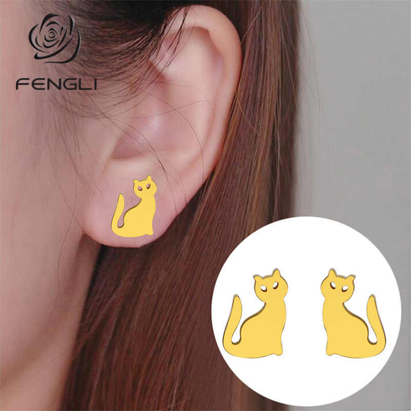 FENGLI สแตนเลสเด็กแมวต่างหูผู้หญิงของขวัญท่องเที่ยว Vintage สัตว์ Cross Heart Mickey Stud หูต่างหูหูเครื่องประดับของขวัญ