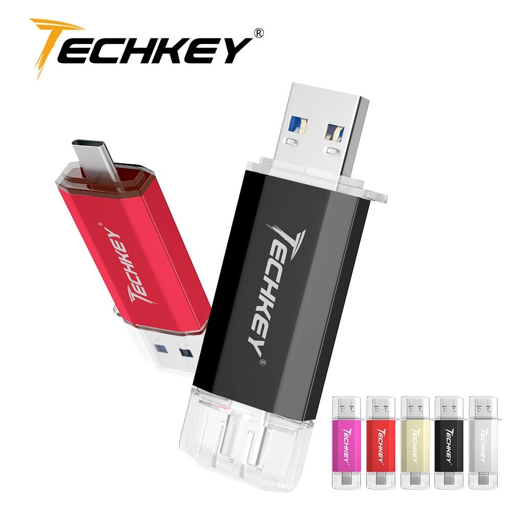 TECHKEY USB3.0 Type-C Usb Pen Drive 3.0 64gb 32gb Custom Logo флешка 16GB Memory Stick 128gb Phones Loptop Pc Storage Device