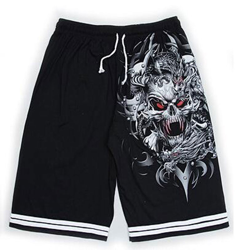 8 Colors Luminous Men Shorts Summer Wolf Skull Print Cotton Shorts Fluorescent Personalized Noctilucent Night Club Rock Shorts