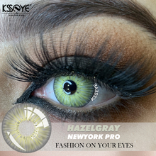 Amazying new look Green Gray Contact Lenses For Eyes 5Tones NEWYORK PRO Contact lens 100 Cover deep eyes Color Contact Lenses cheap fashion on your eyes CN(Origin) 14 5 Two Pieces 0 06-0 15 mm HEMA