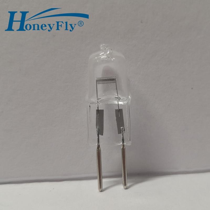 HoneyFly 10 шт. GY6.35 галогенная лампа 12V 20W 35W 50W Warmwhite галогенная лампа ясно G6.35 с украшением в виде кристаллов светильник микроскоп