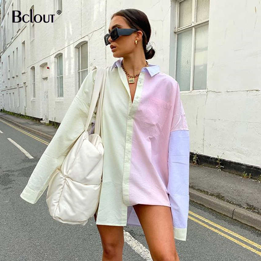 Bclout Panelled Lange Shirt Vrouw Losse Tuniek Casual Lange Mouwen Blouse Vest Vrouwen Herfst 2020 Office Kleding Hip Pop Top