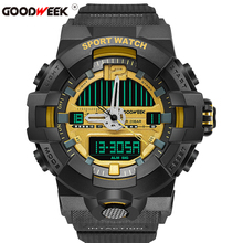 GOODWEEK Military Sport Watch Men Digital Waterproof S Shock Quartz Watches Chronograph Dual Display Wrist Reloj Hombre