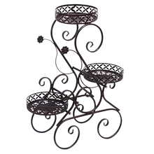 82 x 49 x 28cm 3-Layer Wrought Iron Flower Stand Floor-Standing Metal Plant Frame Plant Pot Rack Outdoor Balcony Decoration
