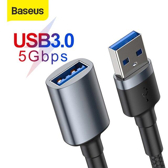 Baseus USB 연장 케이블 USB 3.0 케이블 남성 여성 Extender 케이블 PC 스마트 TV PS4 Xbox 데이터 케이블 USB 3.0 데이터 라인