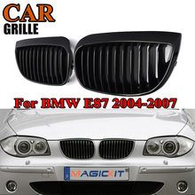 цена на MagicKit Gloss Black Pair of Front Kidney Racing Grills Grill For BMW 1 Series E81 E87 120i 2004 2005-2007 Sport Grille Pre-LCI
