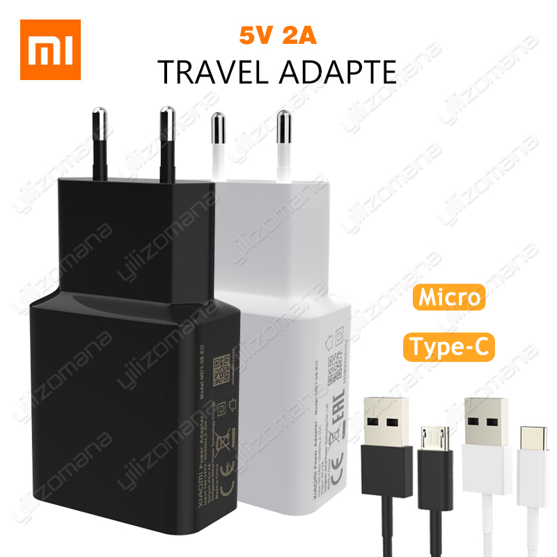 Xiaomi Original Charger 5V/2A EU Type-C Micro USB Data Cable Travel Charging Adapter For MI5 max 3S Redmi Note 3 4 pro 4X 5 5S image