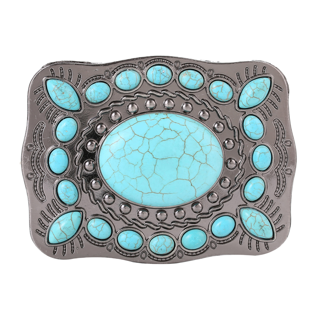 Mens Womens American Western Style Turquoise Stone Belt Buckle Cowboy Cowgirl Belt Buckle Vintage Beads Belt Buckles