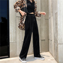 Mooirue Streetwear Pleuche Wide Leg Pants Women 2019 Autumn High Waist Elastic Trouser Loose Vintage Colorful Harajuku Bottoms