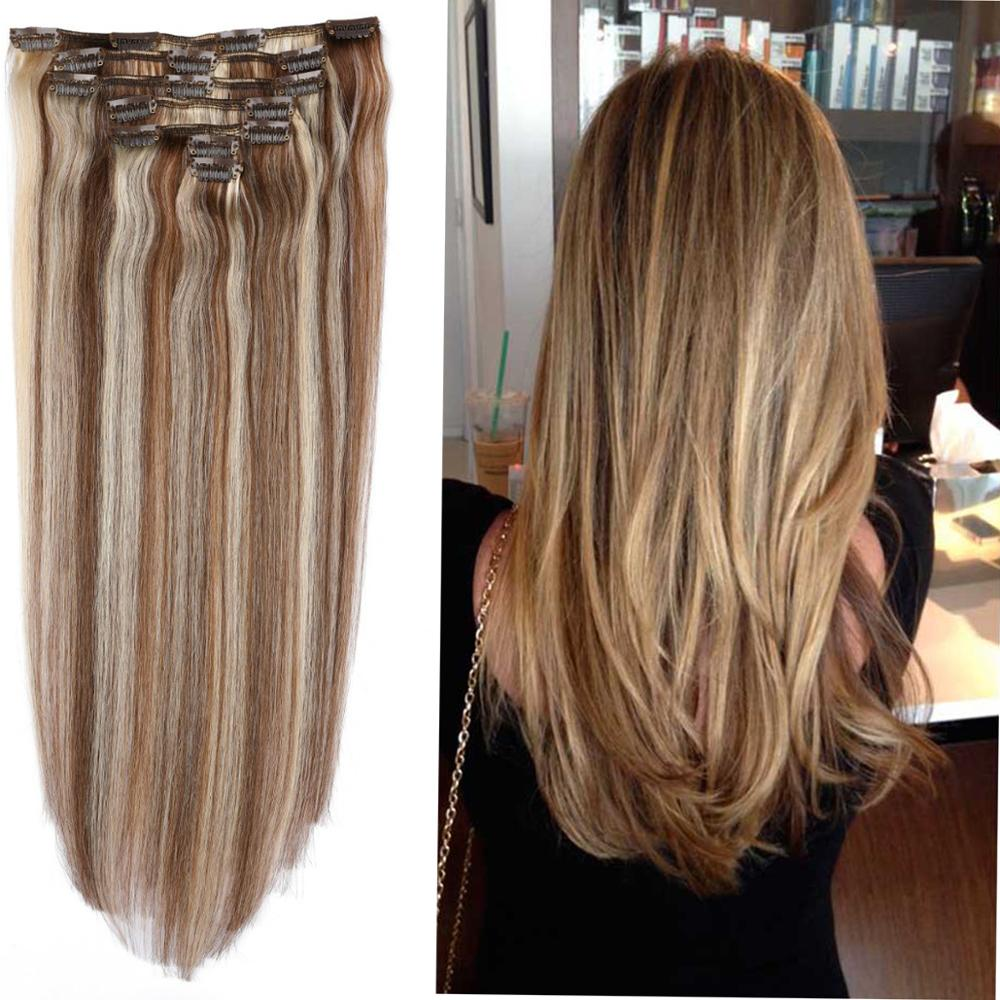 12-26 Highlight Clip In One Piece 100% Real Human Hair Extension 7Pc/Set Clips Remy Hair Piece Straight Brazilian Hair 100g-160g