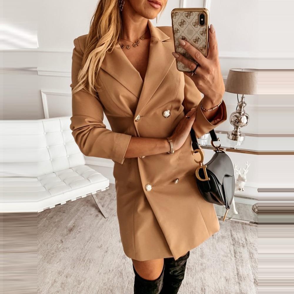 Autumn Elegant Ladies Long Blazer Coat 2020 Women Fashion Clothing Double Breasted British Style Outwear Streetwear Casual Coats