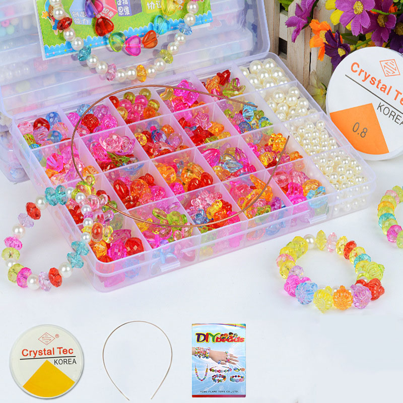 500PCS Arts Crafts DIY Beauty Fashion Jewelry Making Toy Jewelry Sets Necklaces Pendants Beads Jewelry Make Toys For Girls Gifts