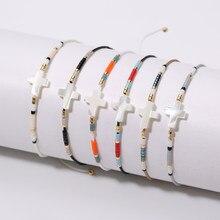 Rttooas cruz miyuki contas de semente pulseira feminina moda mini frisado pulseiras & pulseiras boho mix ajustável cores contas pulseira