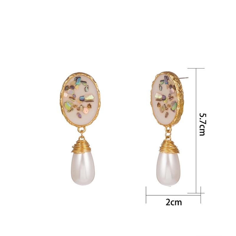 shell stone earrings