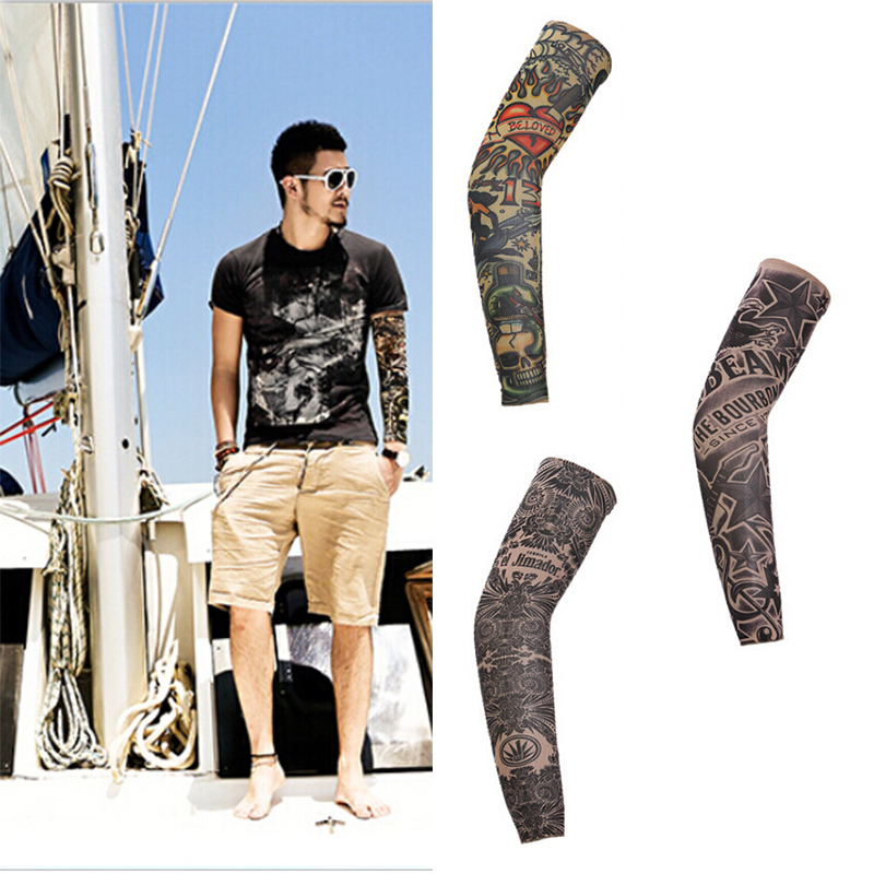 1pc Cool Tattoo Print Cycling Bike Bicycle Armwarmers Arm Warmers Cuff Sleeve Cover Anti UV Protection Oversleeve 38cm