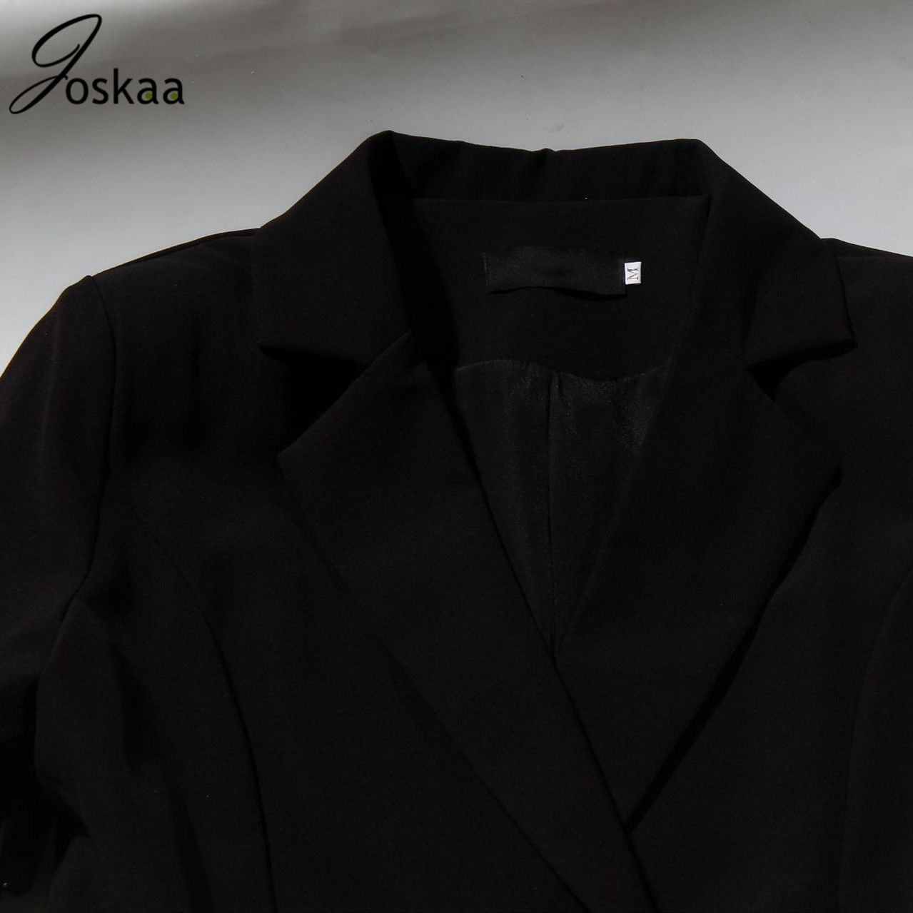Joskaa Women Spring Blazer Mesh Diamond Black Long Sleeve Blazers Jackets Vintage Elegant Fashion Club Casual Sexy Long Outwear