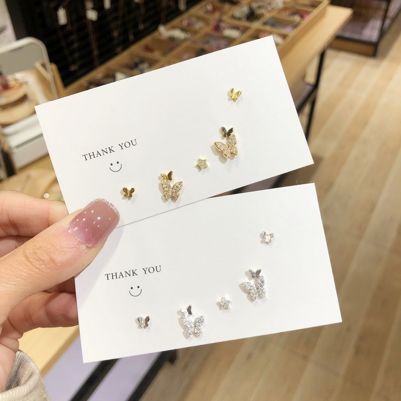 Korean Cute Crystal Butterfly Earrings For Women Girls 2020 New Fashion Studs Earrings Set Simple Style Jewelry